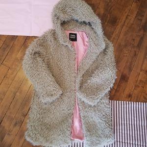 Zara Textured coat with hood